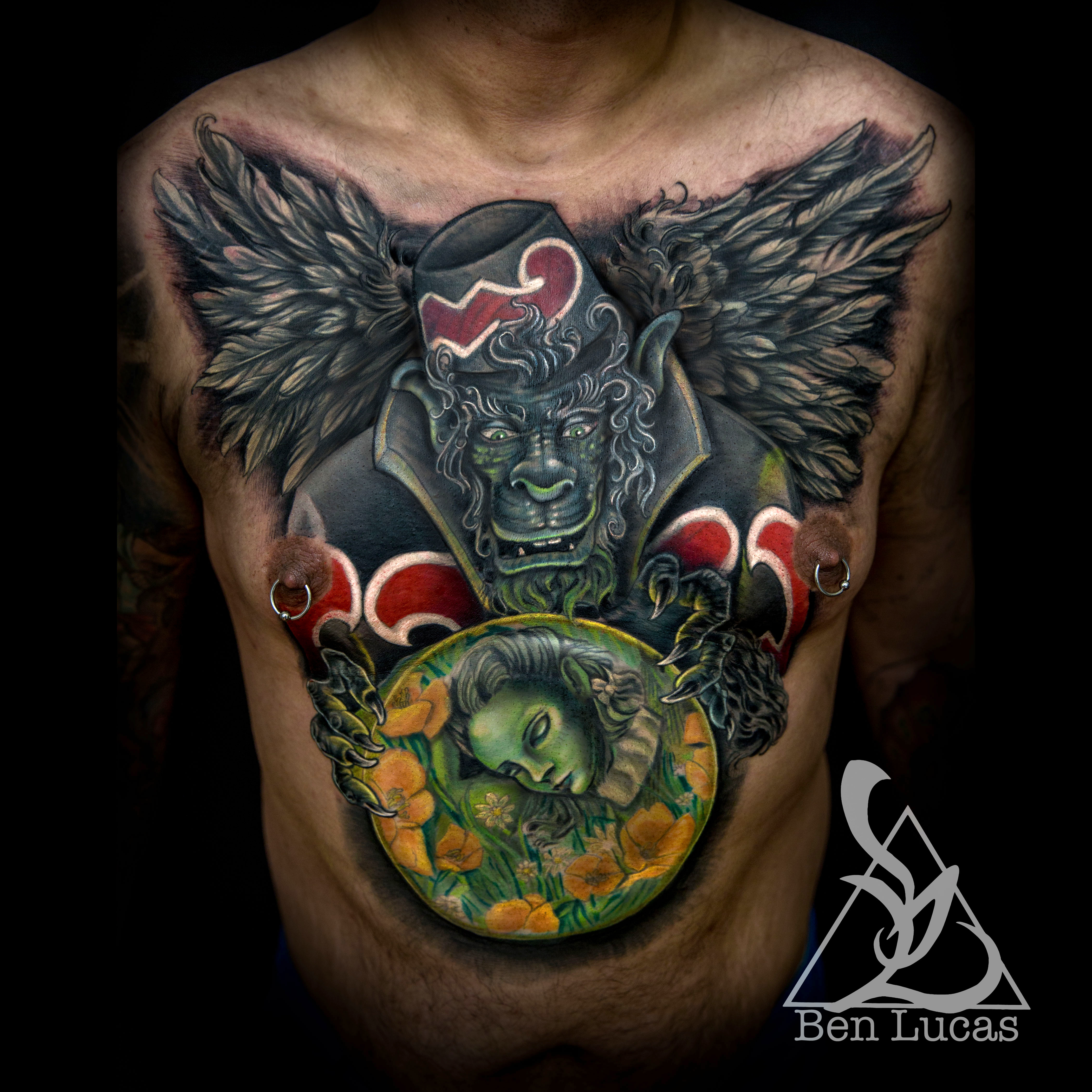 Ismaels flying monkey chest cover up tattoo by ben by ben for Cover up chest tattoos
