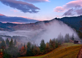 Fog over valley by lica20