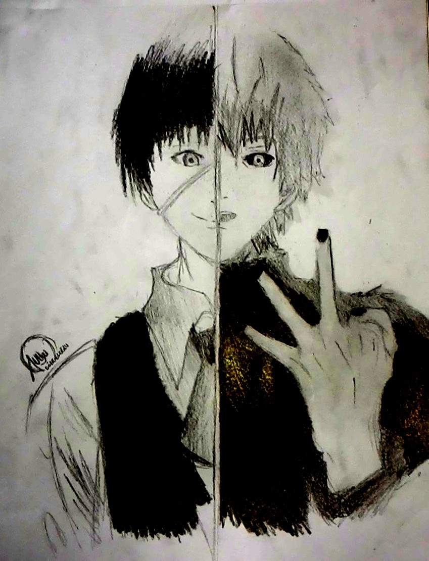 how to draw kaneki ken