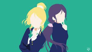 Nozomi x Eli (Love Live!) Minimalist Anime WP