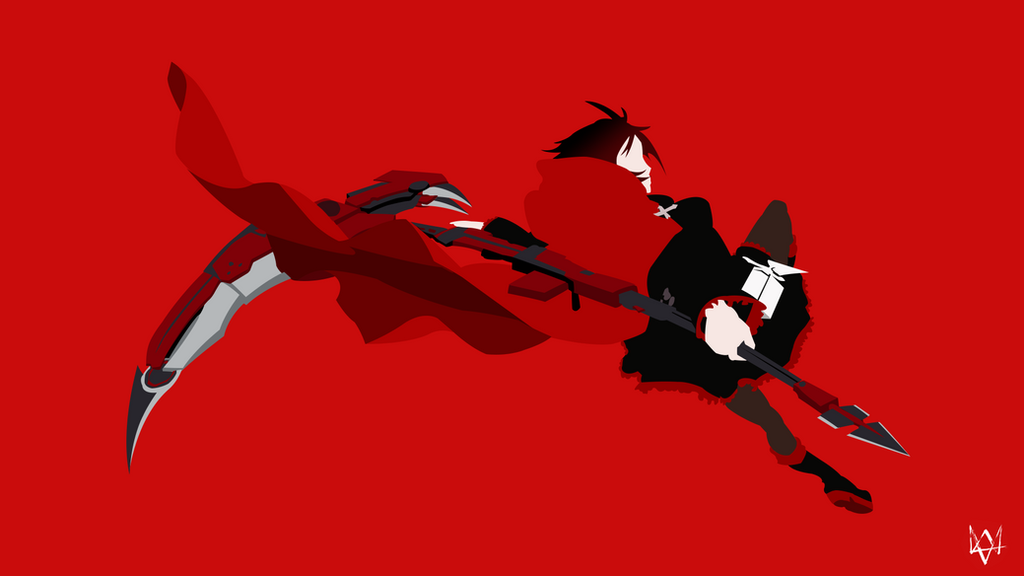 ruby rose rwby minimalist animation wallpaper by