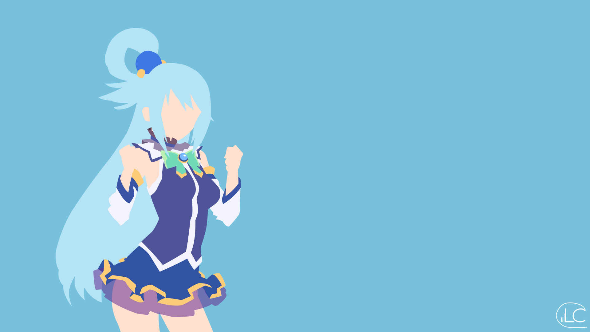 Aqua konosuba minimalist anime by lucifer012 on deviantart for Deviantart minimal wallpaper