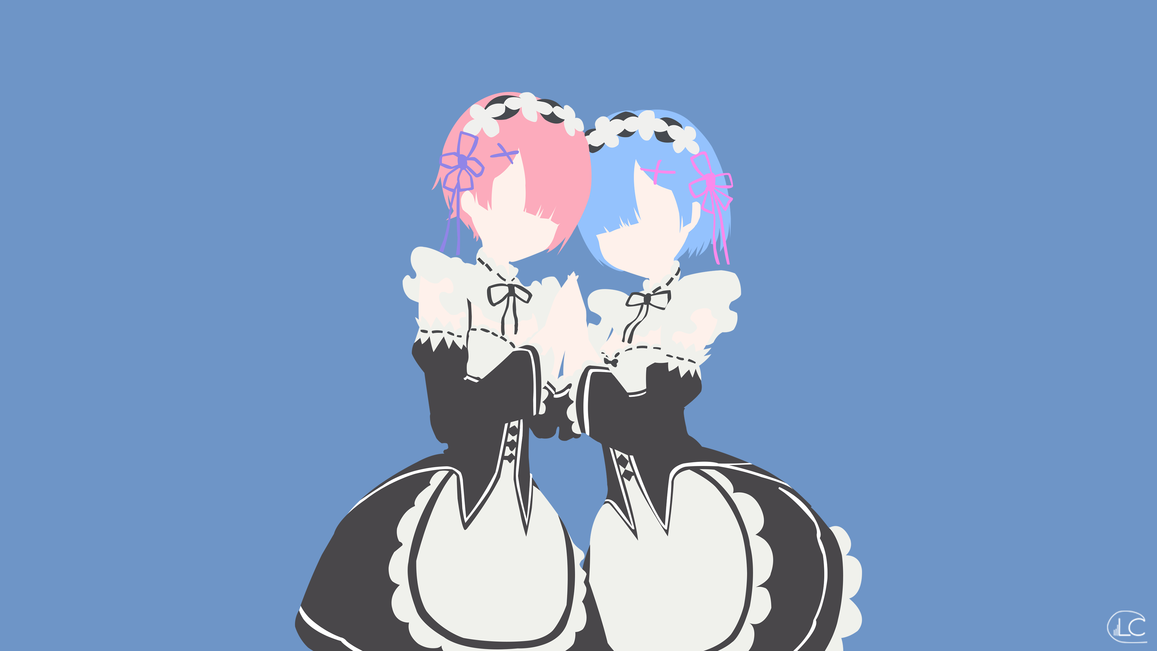 Ram and rem re zero minimalist anime by lucifer012 on for Deviantart minimal wallpaper