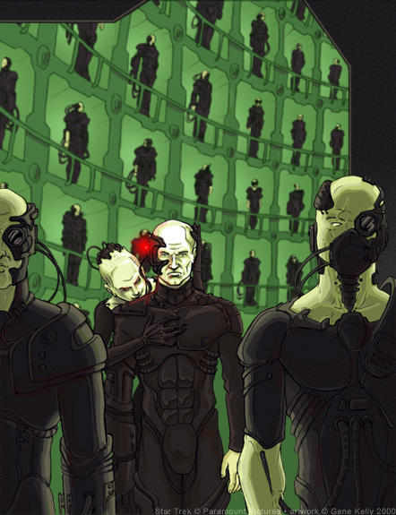 Locutus and The Borg Queen by genekelly