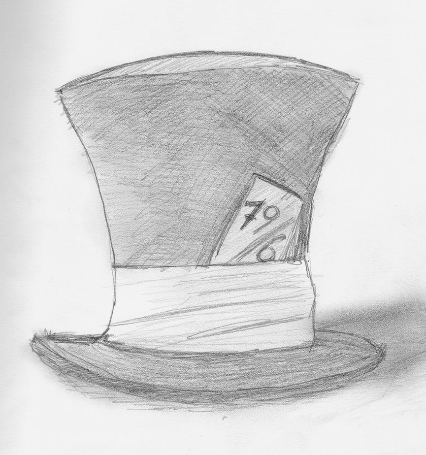 alice in wonderland mad hatter hat drawing