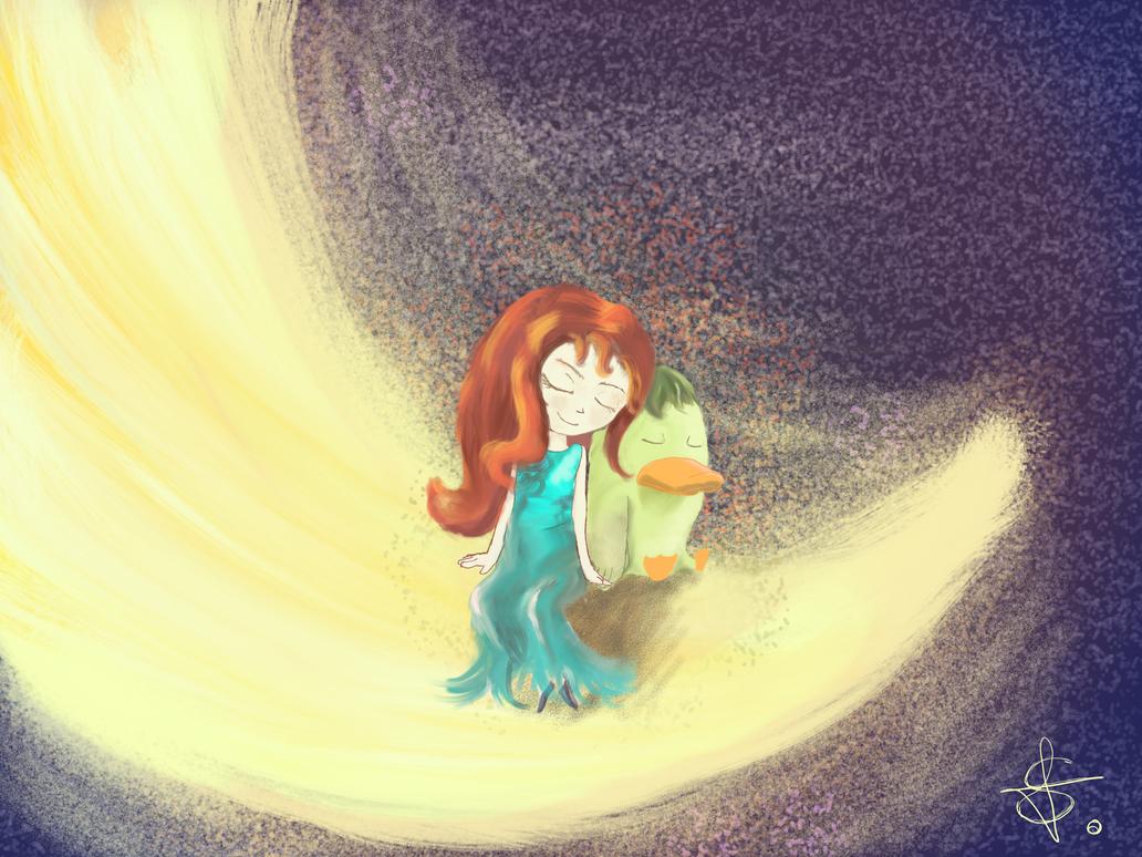 La bambina dei sogni e il papero Lunare by Pensierorumoroso