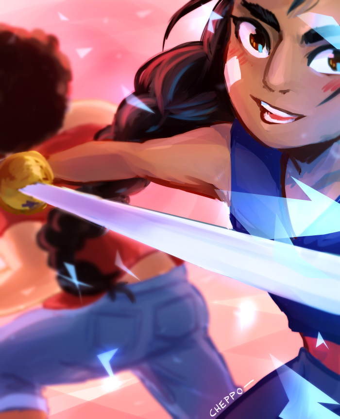 """She's the strawberry--"" ""--and he's the biscuit!"" LOVE THE NEW EPISODE AND THE NEW OPENING........AND CONNIE BEING THE SWORD IS JUST (covers mouth) (eyes watering) (shaky thumbs up) Tumblr link:&n..."