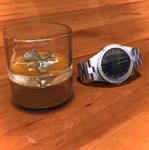 vaso y reloj