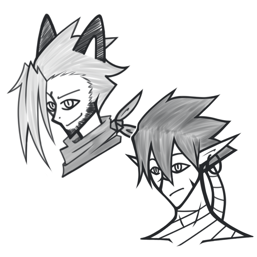 [Oc] Sketch : Kai and Yuria by Alphaawsm