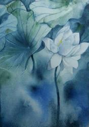white lotus by JiJiJuKi