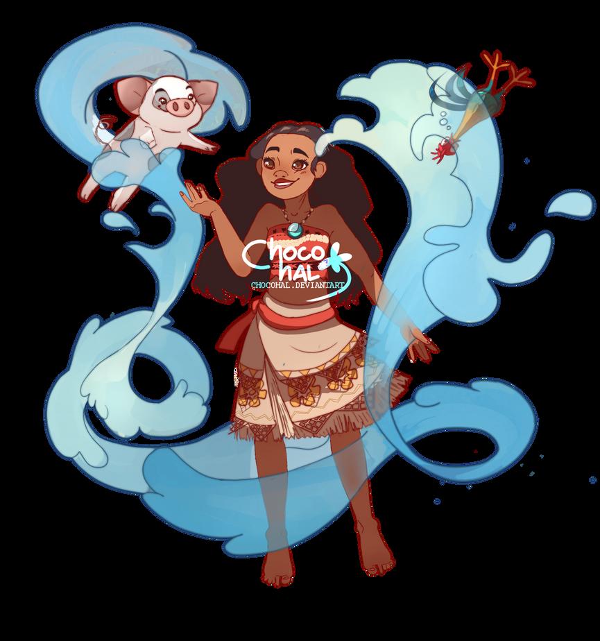 Moana ,Pua , Hei hei and ocean by ChocoHal
