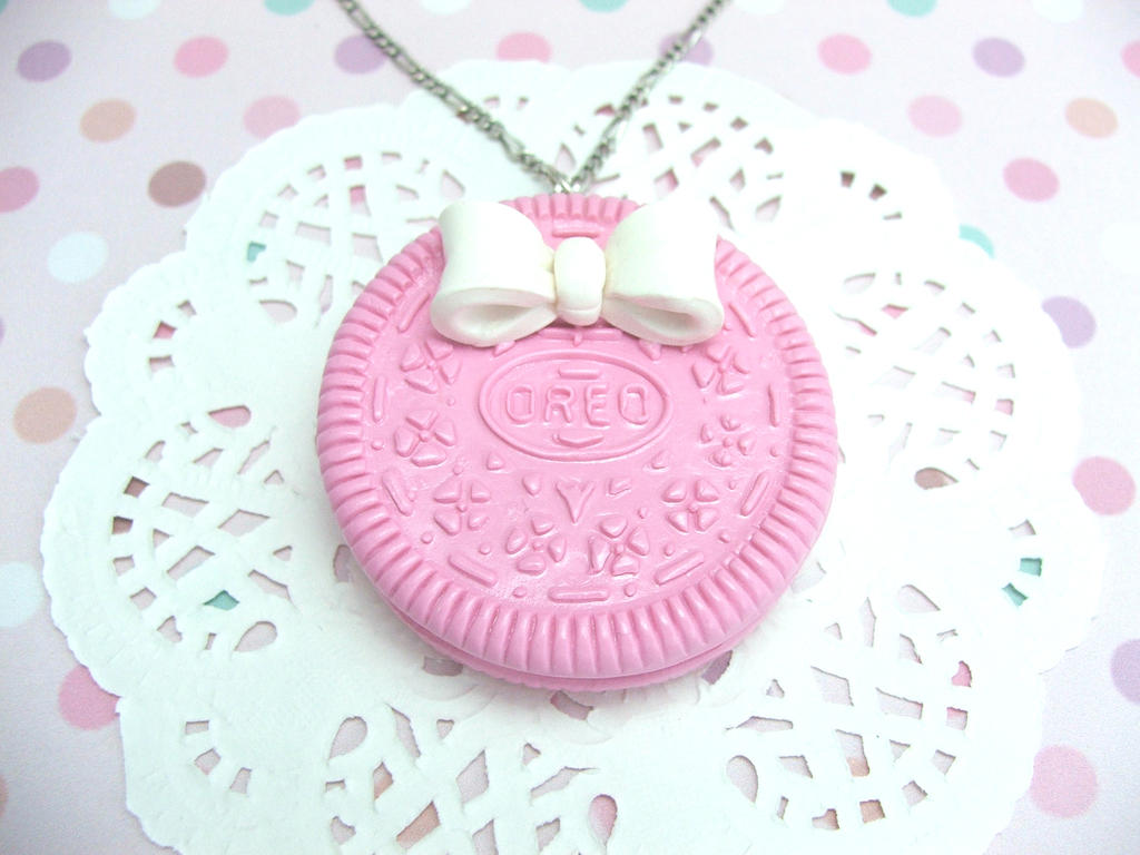 pastel pink oreo with white bow necklace by magickmaka on deviantart