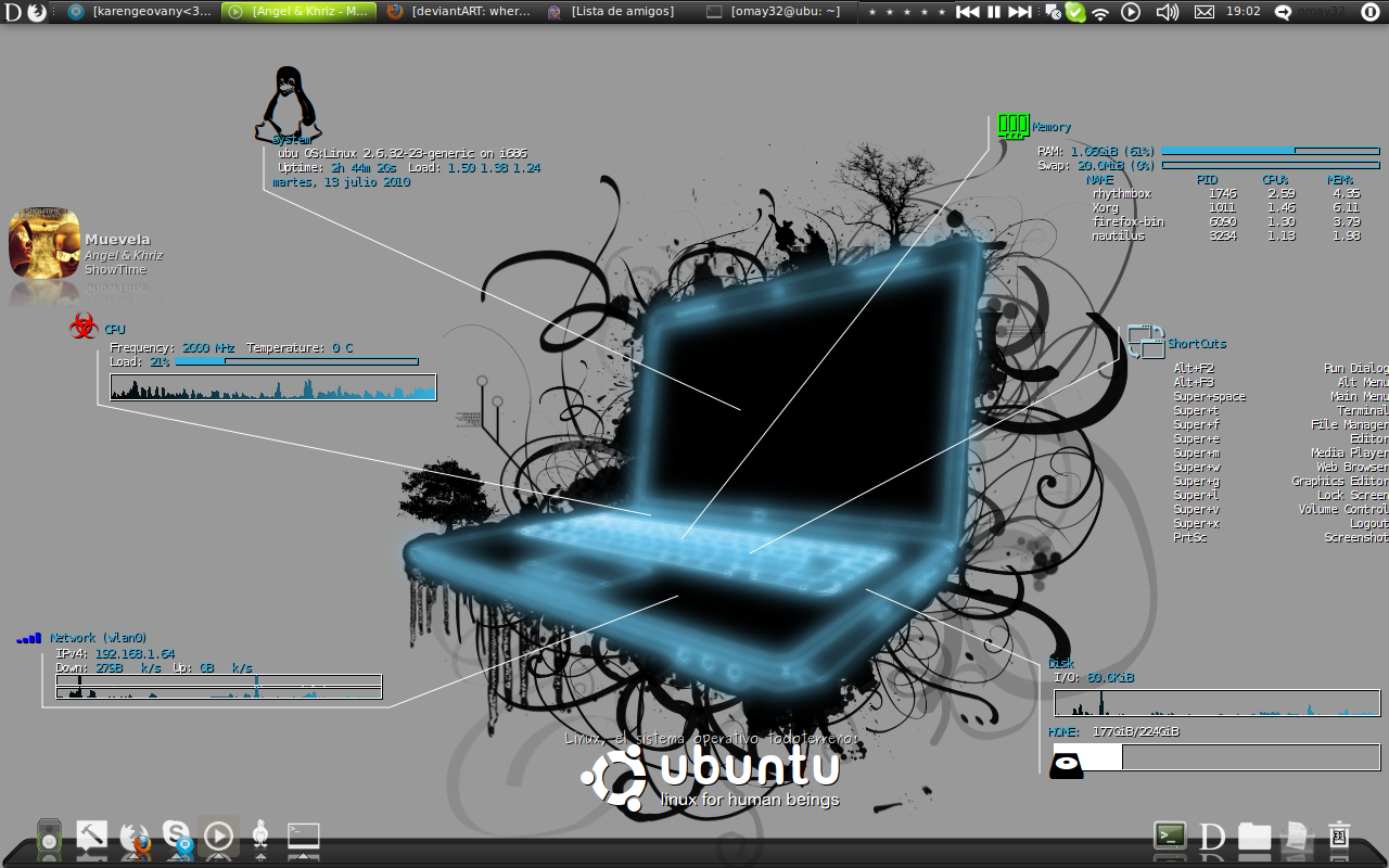My conky conf and own wall :D by omay32