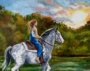 Katy and Hero by angelahedderick