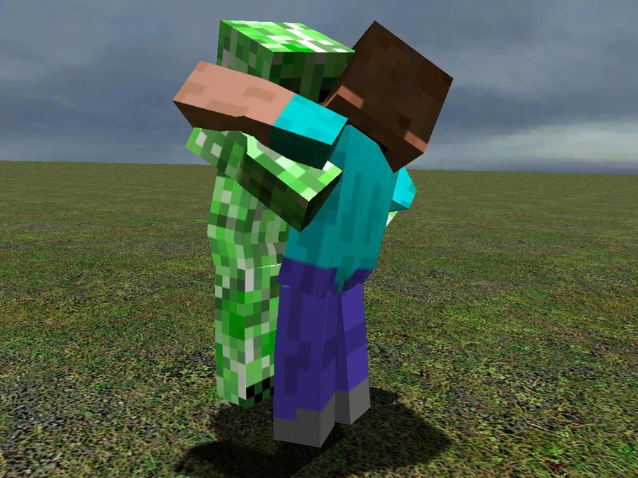 Minecraft creeper hugs steve auto design tech - Minecraft creeper and steve ...
