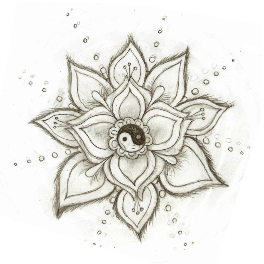 Yin yang flower by skysage on deviantart for Simple creative art drawings