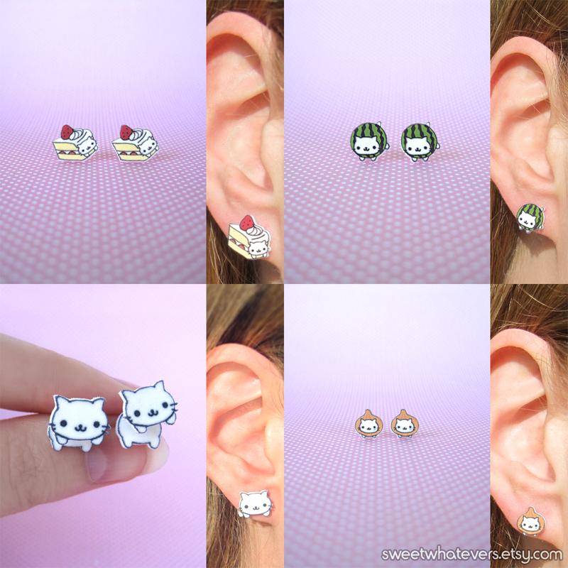 Nyan Nyan Nyanko Earrings by instantpudding