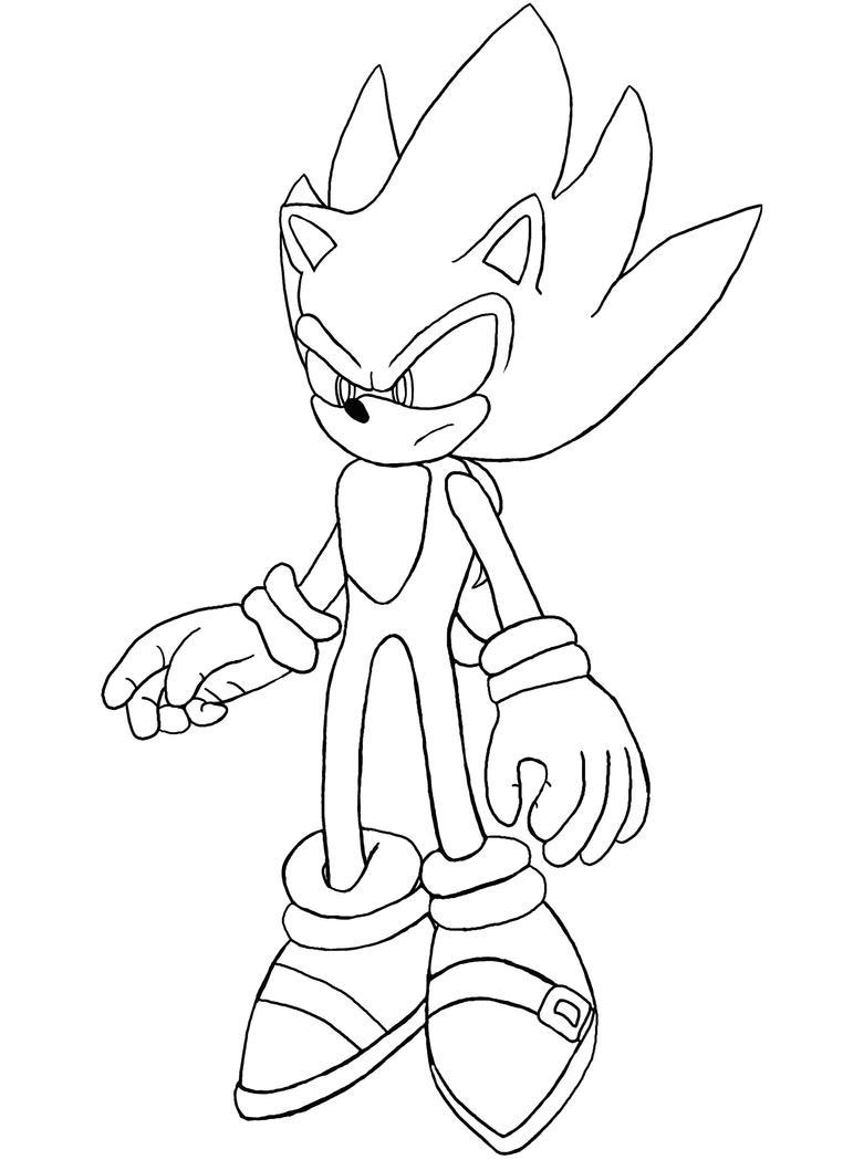Line-art: Super Sonic in S:U by Fuzon-S on DeviantArt