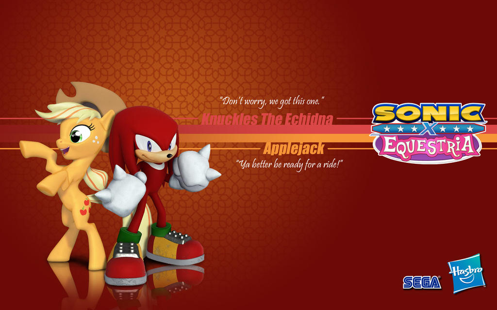 Sonic X Equestria: Knuckles and Applejack by Fuzon-S