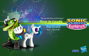 Sonic X Equestria: Vector and DJ PON-3 by Fuzon-S