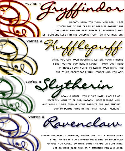 Hogwarts House Banners by lonelypasta