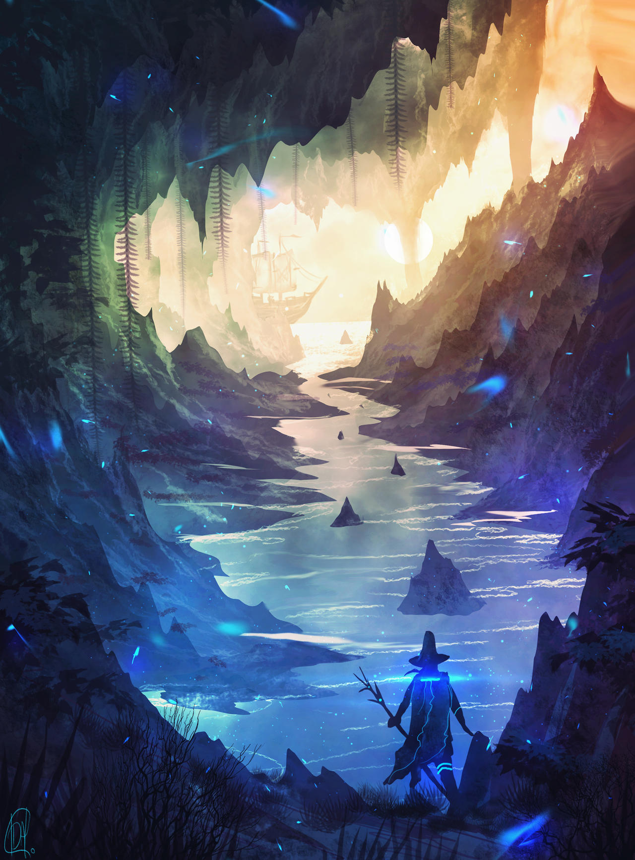 daily speedpaint 83 - sea cave (video)