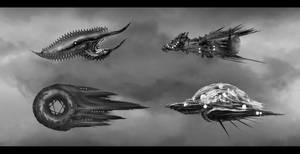 Organic  alien ships sketches by DaisanART