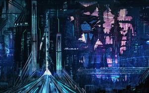 sci-fi city mood concept sketch by DaisanART