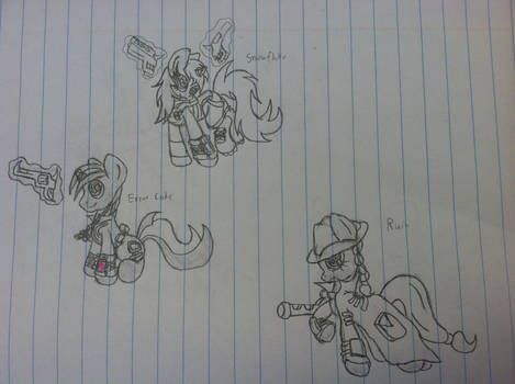 A bunch of fallout ponies