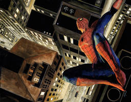 Spider-Man over city by RobHough