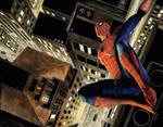 Spider-Man over city