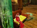 Scarlet at 'Dancing Mermaid' Inn.