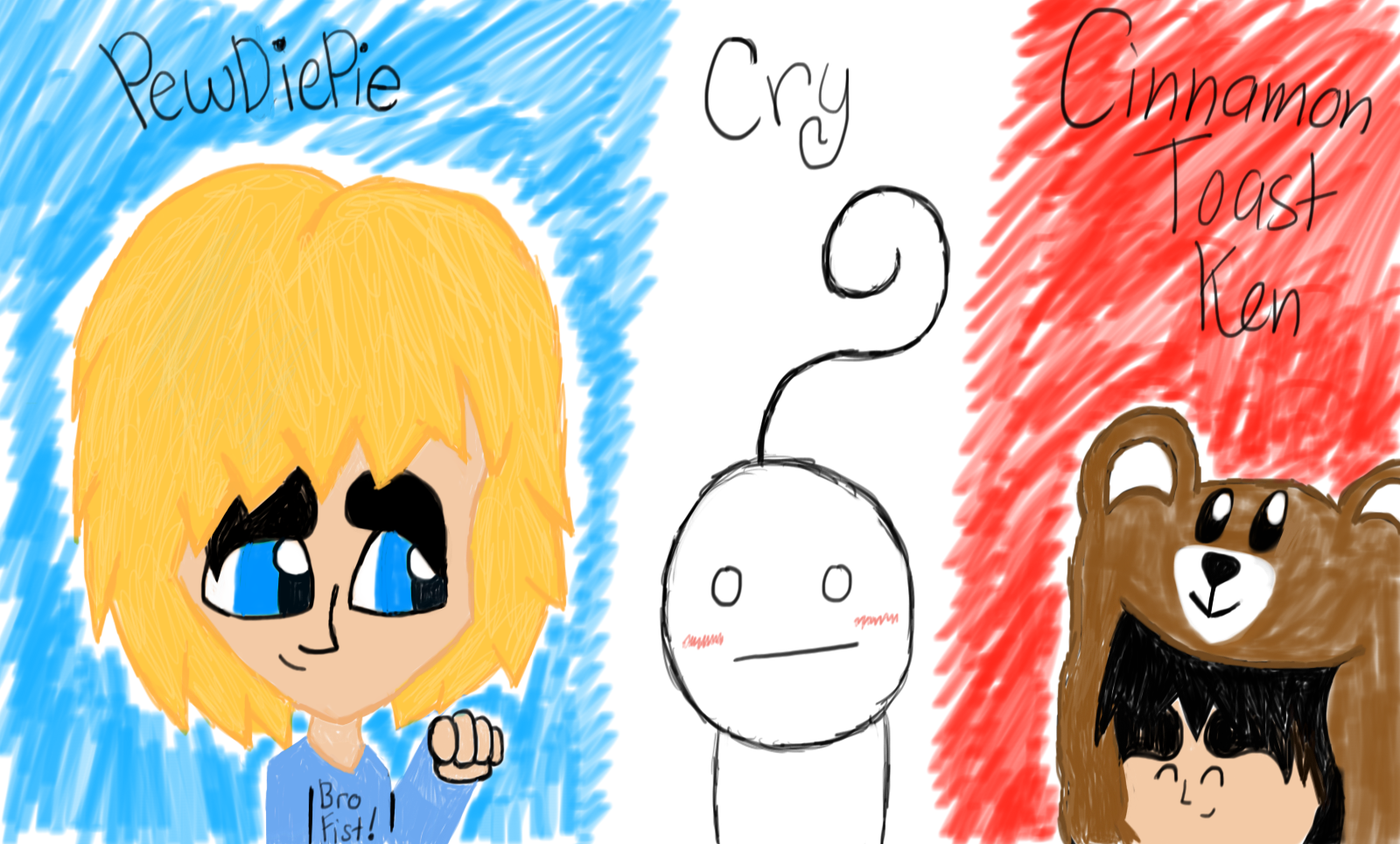 Pewds,Cry and Ken by Riyana2