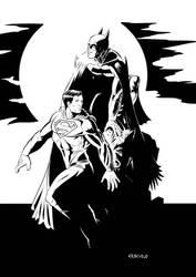 Batman vs Superman pinup by LuigiCrisc