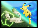 Terriermon and Pikachu