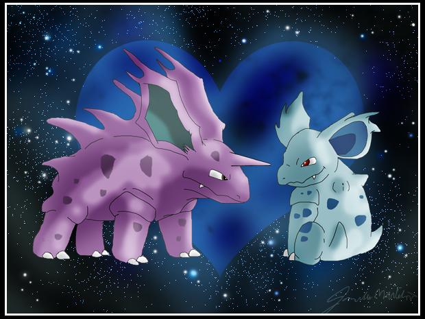 Nidorino and Nidorina by WeisseEdelweiss on DeviantArt
