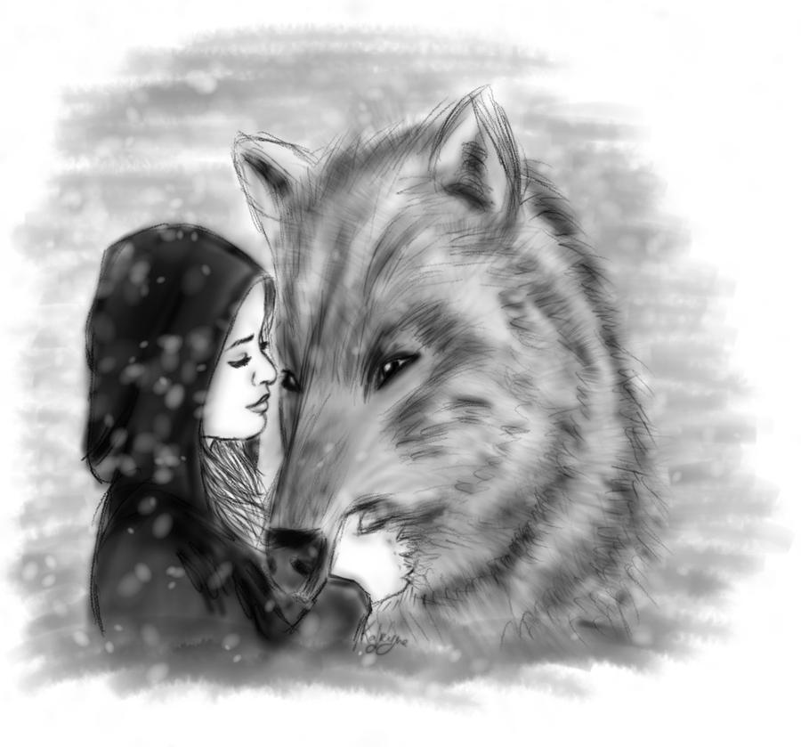 Lady with a wolf by kafryne on deviantart - Dessin de calin ...