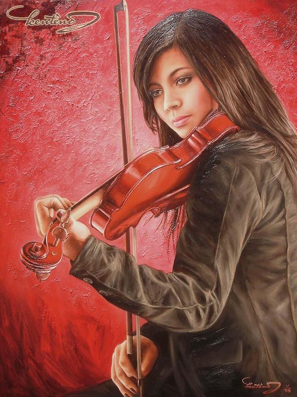 Kenteng: Violin Girl I +Red+ by Kenteng on DeviantArt