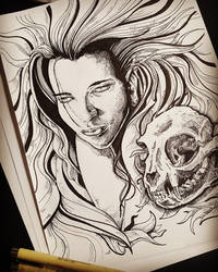 demoness and cat skull by Amacdesigns
