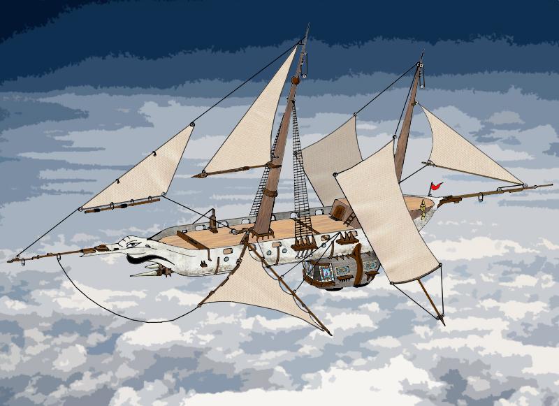 Flying Imp, Elven Spelljammer by juanosarg