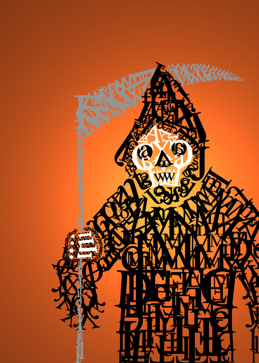 Letter Eating Grim Reaper by diwatacha Digital Art Inspiration Through Text Art & Typography