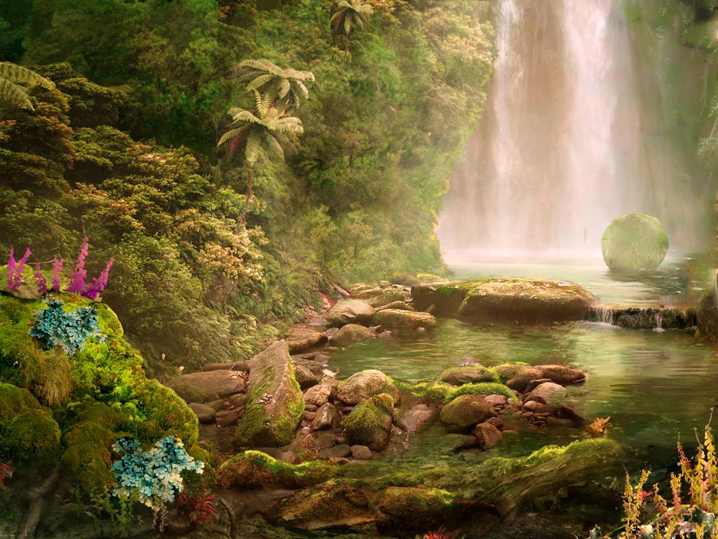waterfall bottom by WolfeWOLF