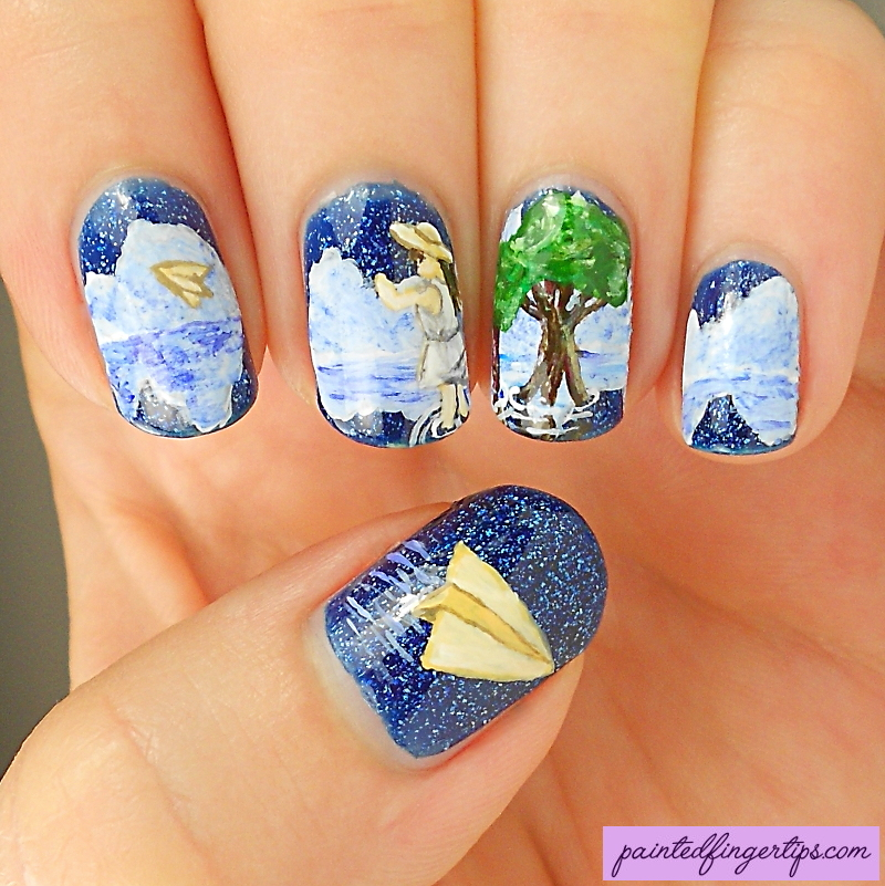 Paper-plane-nail-art by Painted-Fingertips