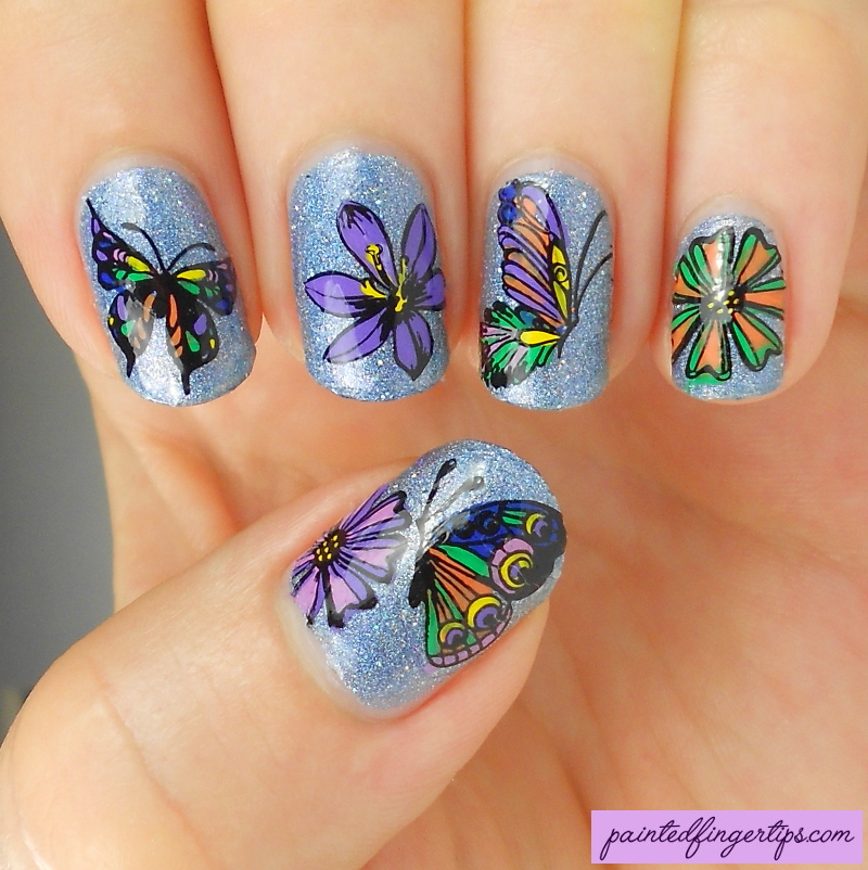 Flower-and-butterfly-stamping-decals by Painted-Fingertips