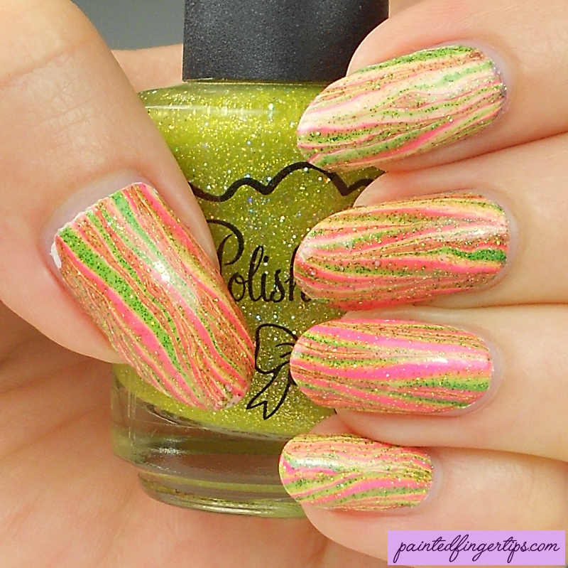 Pink-yellow-green-water-marble by Painted-Fingertips