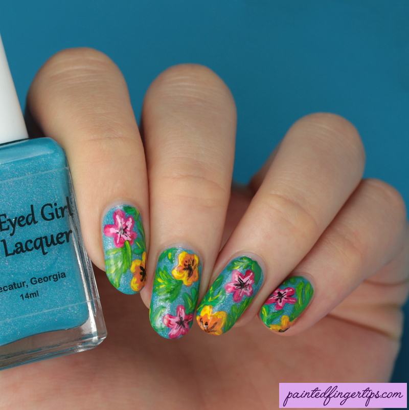Floral-tropical-nail-art by Painted-Fingertips on DeviantArt