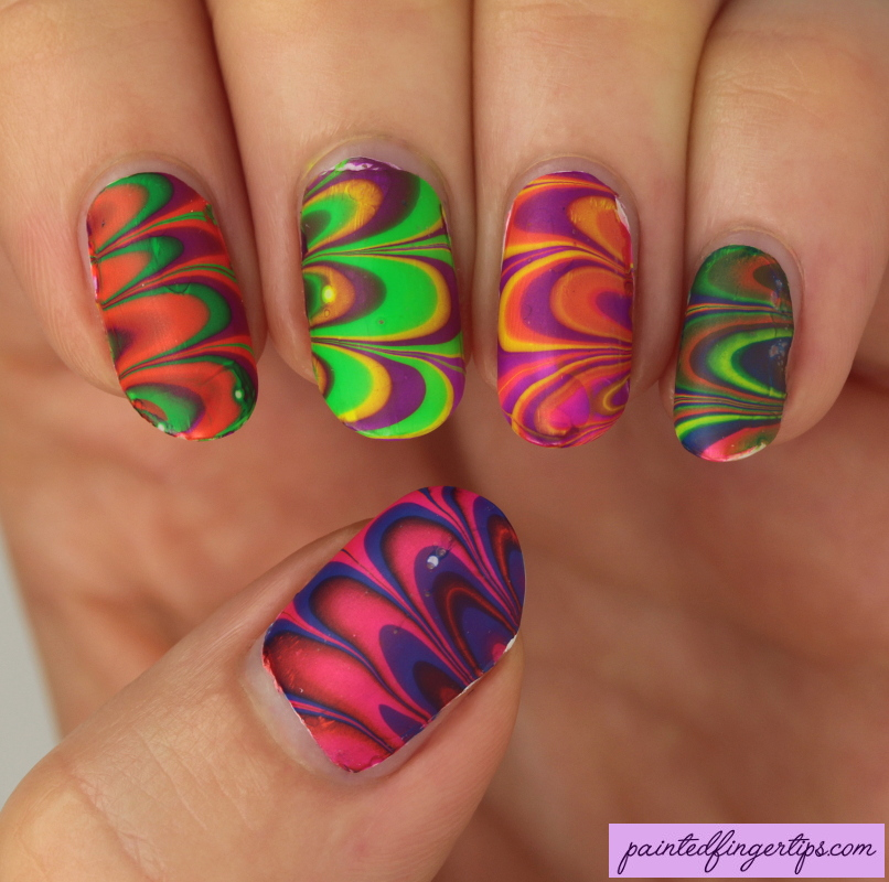 Neon-water-marble-nail-art by Painted-Fingertips on DeviantArt