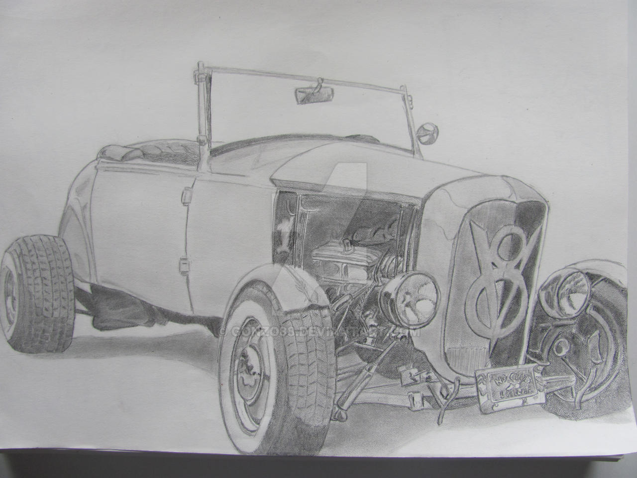 1932 Ford Roadster Hot Rod Pencil Drawing By Gonzo88 On