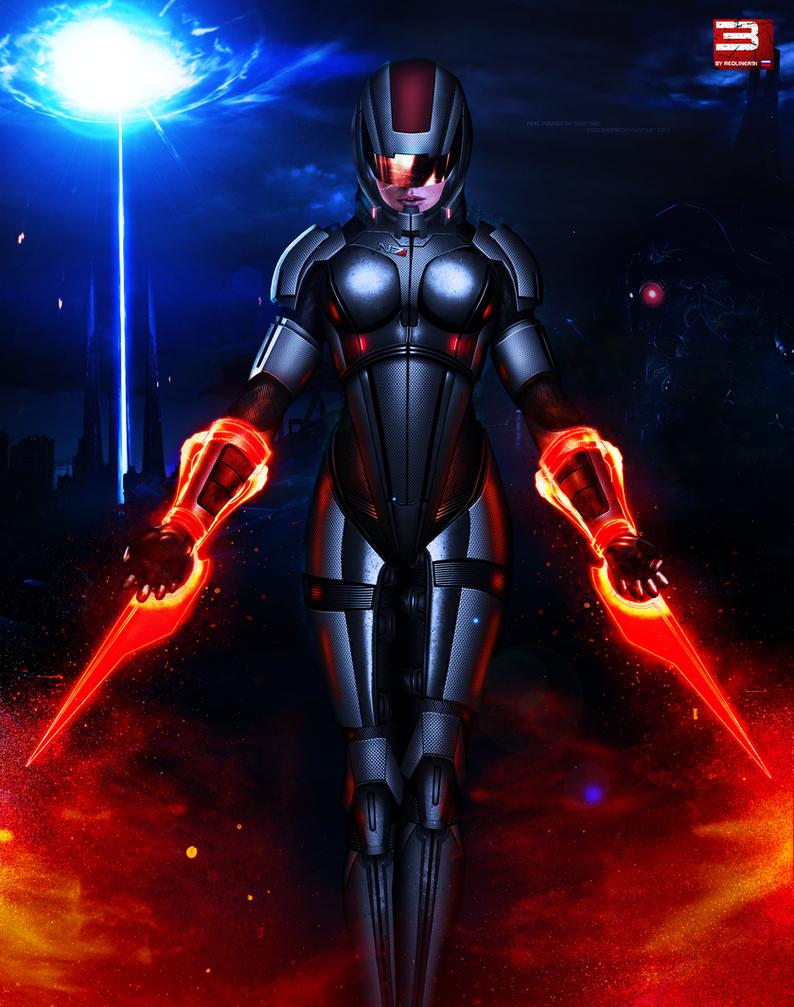 Mass Effect 3 FemShep Sentinel V2 (2012) by RedLineR91