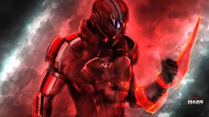 Mass Effect Shepard N7 REDness Ultra HD by RedLineR91